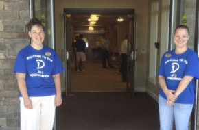 Buffalo Valley Lutheran Village staff members welcoming residents to the village's new health care center.