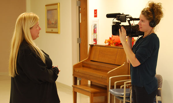 Filmmaker Nathalie Gross, right, interviews Cathy Balliet of Diakon Adoption & Foster Care.