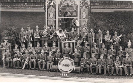 The Tressler Orphans Home Boys Band poses for a group photo in 1938.