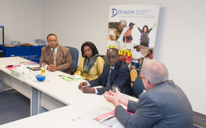 Wade Brown, left, during a visit to the Diakon Kathryn's Kloset warehouse by Fatou Danielle Diagne, former ambassador of the Republic of Senegal to the U.S.